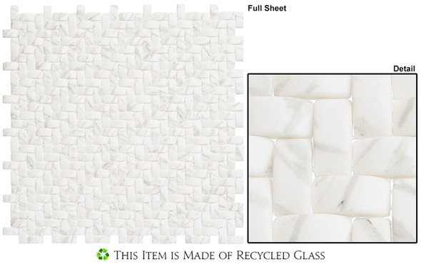 Summer Outing - SMO321 Inca Basket - Basketweave Raised 3D Relief - Recycled Glass Mosaic