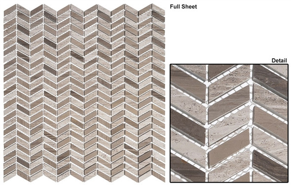 Covered Bridges - CVB-363 Madison County - Mini Chevron Pattern Natural Stone Mosaic Tile - Sample