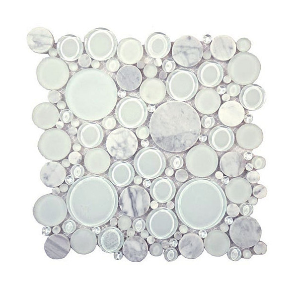 Round Bubble Glass & Natural Stone Marble Mosaic Tile - BFS-101 White Dove - Interlocking Sheet - Sample