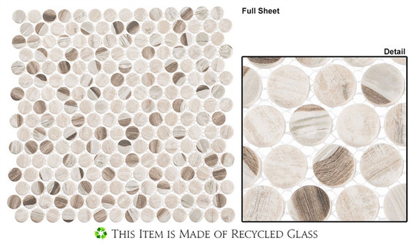 Pixels - PX-783 Speckled Taupe - Penny Round Recycled Glass Mosaic - Sample