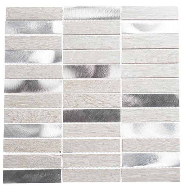 Maison De Luxe Series - MDX-2702 Silver Tower - Brick Shape Porcelain Wood & Metal Mosaic Tile - Stacked - Sample