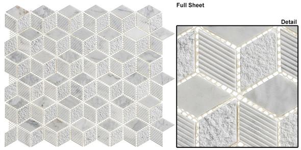 Arctic - ARS-81 Siberian Heron - Textured & Pattern Natural Stone Mosaic Tile