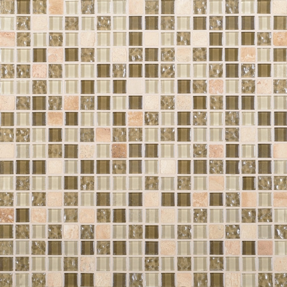 Daltile Marvel Mosaic - MV30 Radiance - 5/8 X 5/8 Glass Tile, Stone, and Metal Deco Tile Mosaic* SAMPLE *