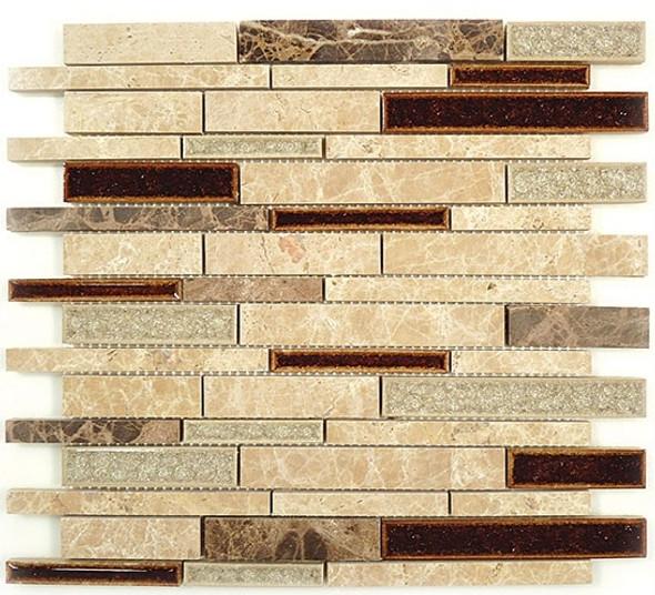 Tranquil Linear - TS-943 El Dorado - Random Brick Crackle Jewel Glass & Natural Stone Decorative Mosaic Tile - Sample