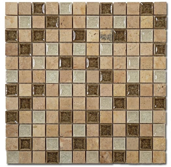 Tranquil - TS-911 Grecian Sage - 1X1 Square Crackle Jewel Glass & Natural Stone Decorative Mosaic Tile - Sample