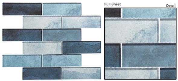 Westminster - WM 772 Blue Jubilee - 2 X 6 Subway Rectangle Brick Shape Glass Mosaic