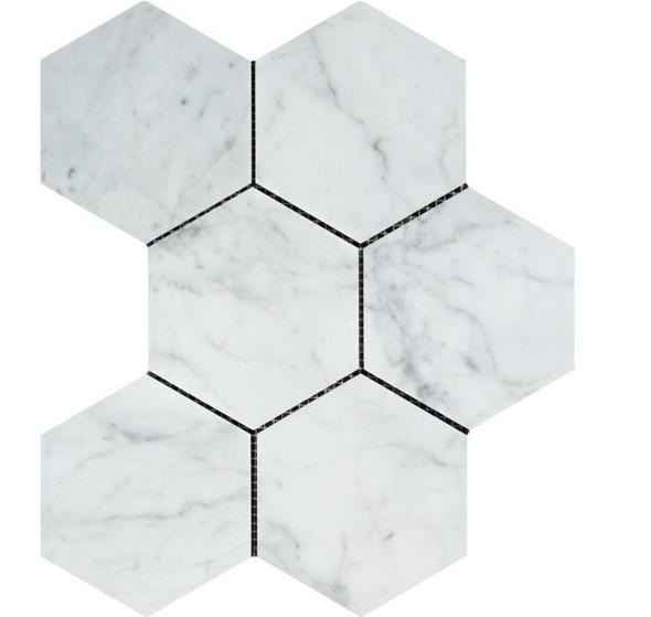 White Carrara Marble - 5 X 5 Hexagon Mosaic - Honed - Premium Italian Carrera Natural Stone