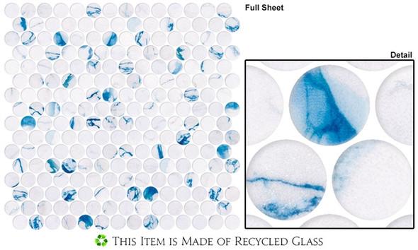 Carolina Dots - CAR2013 Azul Chic - Penny Round Recycled Glass Mosaic - Sample