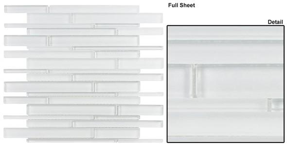 Cane - CN25 Super White - Random Brick Linear Glass Tile Mosaic - Sample