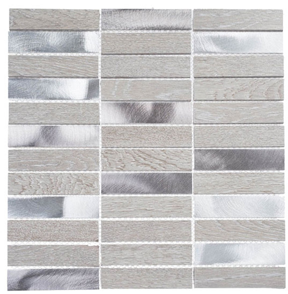 Maison De Luxe Series - MDX-2703 Decadent Star - Brick Shape Porcelain Wood & Metal Mosaic Tile - Stacked