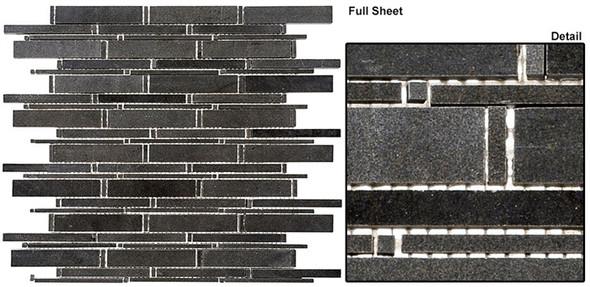 Cascade - CS90 Basalt - Random Brick Stick Linear Natural Stone Mosaic Tile - Sample