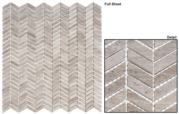 Covered Bridges - CVB-364 River Truss - Mini Chevron Pattern Natural Stone Mosaic Tile - Sample