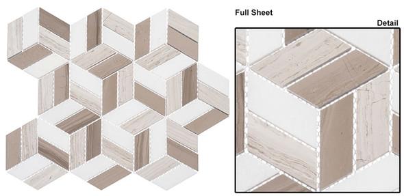 Joyous Moments - JM741 Quaint Corner - 3D Step Cube Pattern Mosaic - Polished - Sample