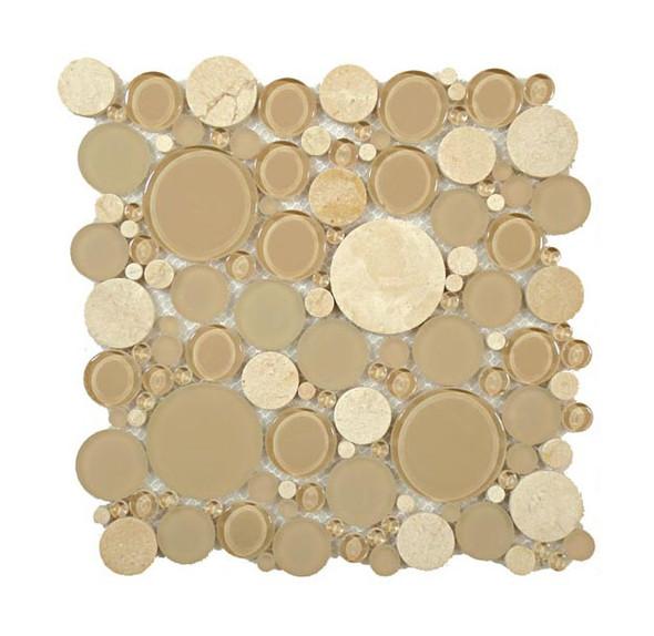 Round Bubble Glass & Natural Stone Marble Mosaic Tile - BFS-201 Sable Brown - Interlocking Sheet - Sample