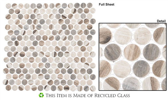 Pixels - PX-784 Dotted Blend - Penny Round Recycled Glass Mosaic - Sample