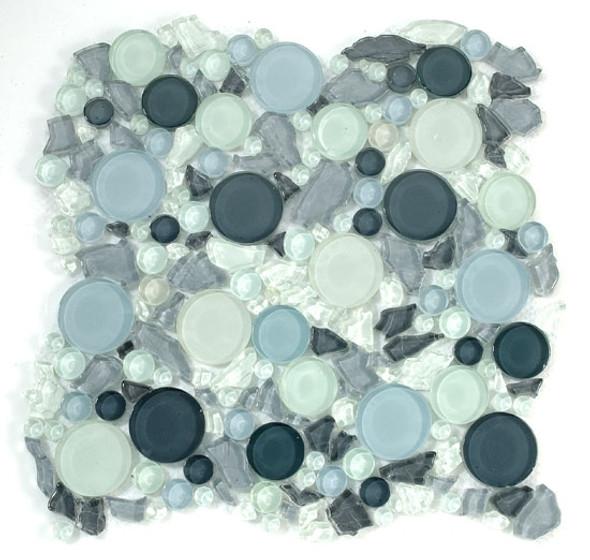 Lagoon Round Bubble & Leaf Shape Glass Mosaic Tile -  LG805A Dawn - Interlocking Sheet - Sample