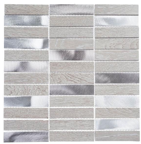 Maison De Luxe Series - MDX-2703 Decadent Star - Brick Shape Porcelain Wood & Metal Mosaic Tile - Stacked - Sample