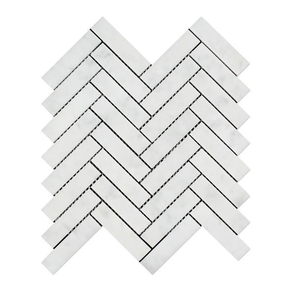 Carrara White Marble - Herringbone Pattern Marble Mosaic Tile - 1 X 4 - HONED