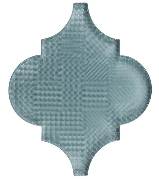 Arabesque Glass Tile - Versailles VS-411TEXTURED French Blue - Moroccan Style Glass - Gloss Textured - Sample