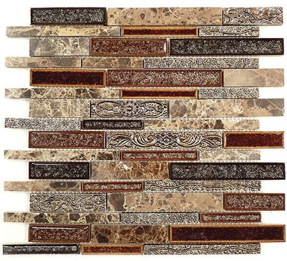Tranquil Linear - TS-944 Scottsdale Brass - Random Brick Crackle Jewel Glass & Natural Stone Decorative Mosaic Tile - Sample