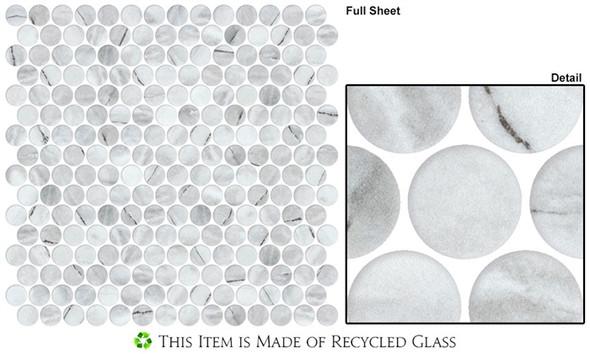 Carolina Dots - CAR2014 Venezuela Dawn - Penny Round Recycled Glass Mosaic - Sample