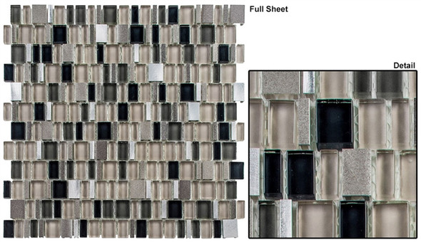 Enchanted Flavors - EF-615 Tuscan Syrup - Random Offset Multi Size Glass & Natural Stone Mosaic Tile - Sample