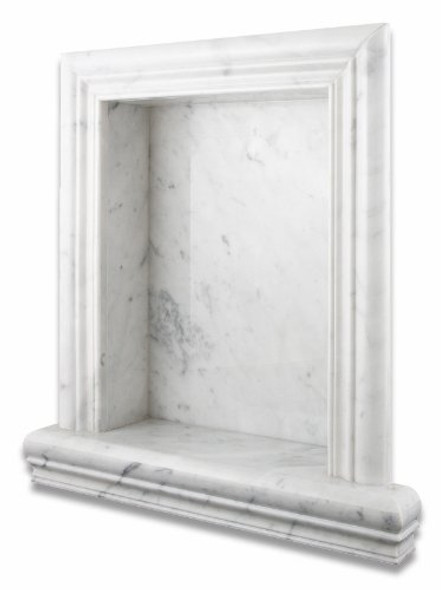Carrara White Marble - Shampoo Shower Wall Niche Shelf - Recessed Hand Made - LARGE - Polished Finish