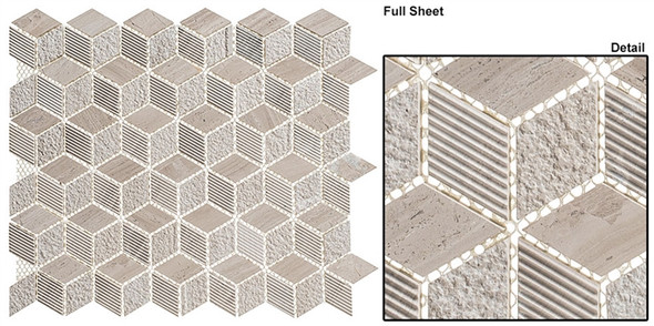 Arctic - ARS-82 Frozen Lake - Textured & Pattern Natural Stone Mosaic Tile
