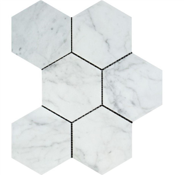 White Carrara Marble - 5 X 5 Hexagon Mosaic - Polished - Premium Italian Carrera Natural Stone - Sample