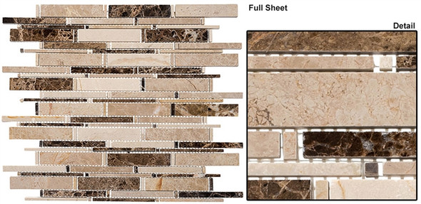Cascade - CS91 Emperador Dark + Crema Marfil + Emperador Li - Random Brick Stick Linear Natural Stone Mosaic Tile - Sample