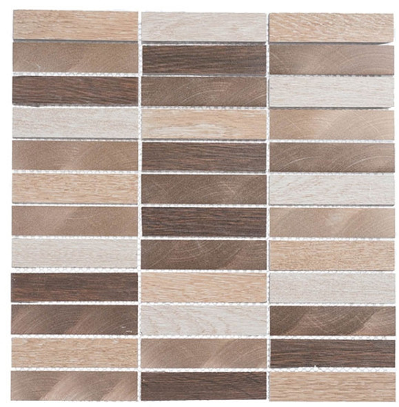 Maison De Luxe Series - MDX-2704 Gilden Sable - Brick Shape Porcelain Wood & Metal Mosaic Tile - Stacked