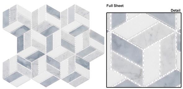 Joyous Moments - JM742 Kitten Play - 3D Step Cube Pattern Mosaic - Polished - Sample