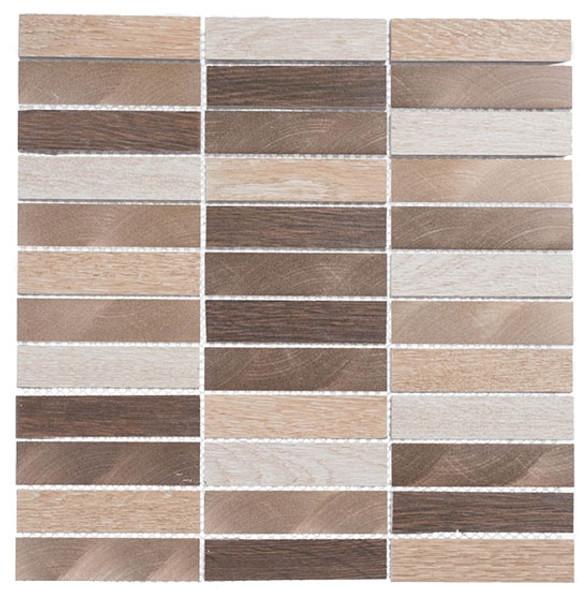 Maison De Luxe Series - MDX-2704 Gilden Sable - Brick Shape Porcelain Wood & Metal Mosaic Tile - Stacked - Sample