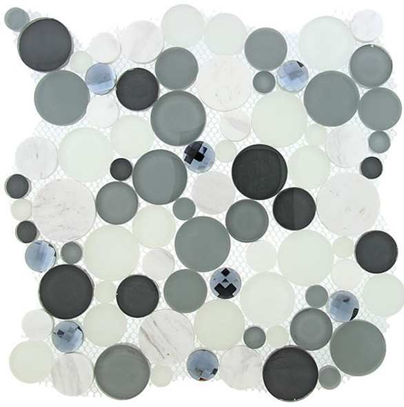 Symphony Bubble Round Mosaic Tile - SBS1512 Grey Fizz - Glass & Natural Stone Marble Interlocking Sheet - Sample