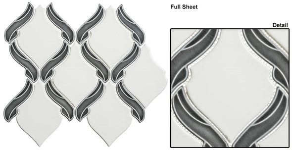 Lumiere - LMR-8501 Orion Noir - Arabesque Pattern Crackle & Solid Mix Glaze Porcelain Decorative Mosaic Tile - Sample