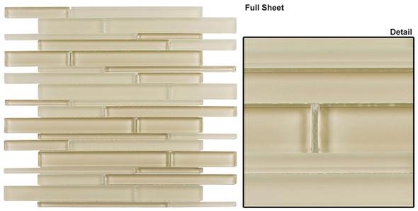 Cane - CN29 Cream - Random Brick Linear Glass Tile Mosaic - Sample