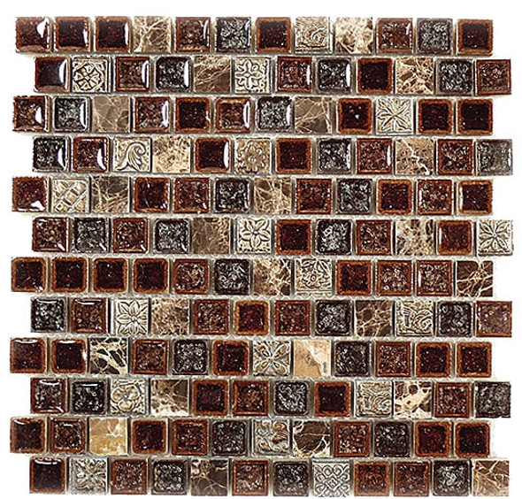 Tranquil Offset - TS-920 Crocodile Road - 1X1 Crackle Jewel Glass & Natural Stone Decorative Mosaic Tile - Sample