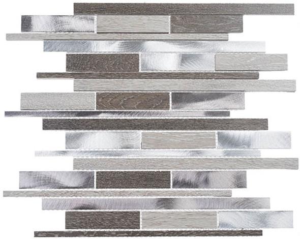 Maison De Luxe Series - MDX-2721 Monte Carlo - Brick Shape Porcelain Wood & Metal Mosaic Tile - Random