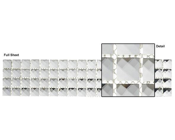 Kasbah - KS441 Crystal Lantern - 2.5 X 12 Jewel Mirror Glass Tile Mosaic Border Liner Strip - Sample