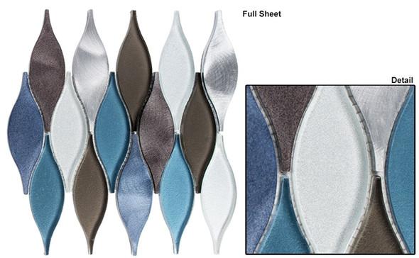 Chandelier - CHS-211 Wild Ocean - Flame Shape Glass & Metal Mosaic Tile