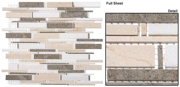 Cascade - CS92 Lagos Azul + Creama Marfil + Thassos White - Random Brick Stick Linear Natural Stone Mosaic Tile - Sample