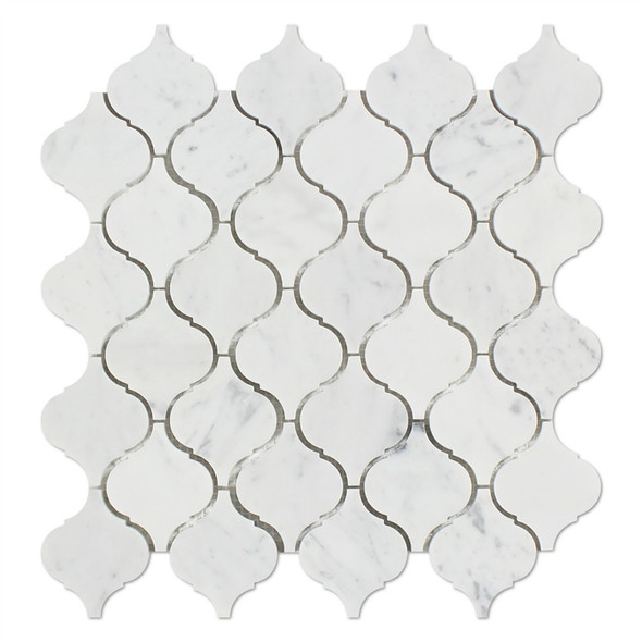 "Carrara White Marble - Arabesque Lantern Baroque Moroccan Mosaic Tile - 2"" - HONED"