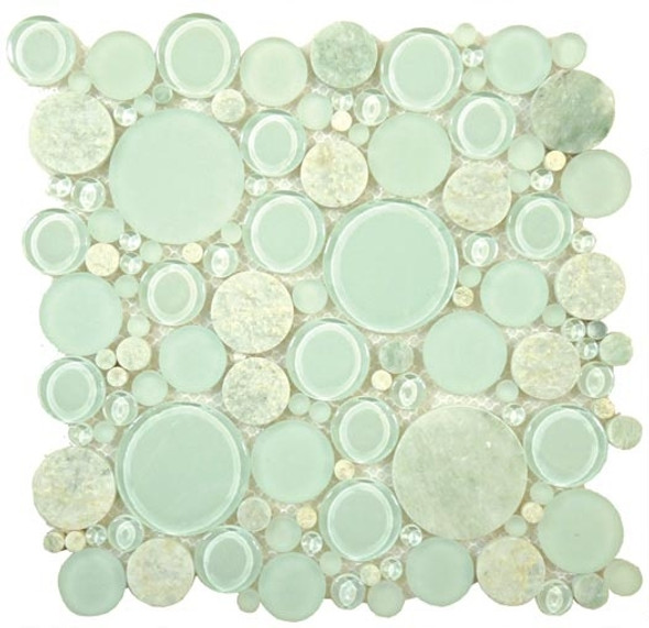 Round Bubble Glass & Natural Stone Marble Mosaic Tile - BFS-401 Moonstone - Interlocking Sheet - Sample