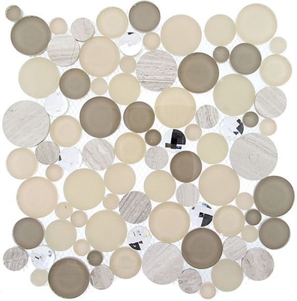 Symphony Bubble Round Mosaic Tile - SBS-1514 Whipped Cream - Glass & Natural Stone Marble Interlocking Sheet - Sample
