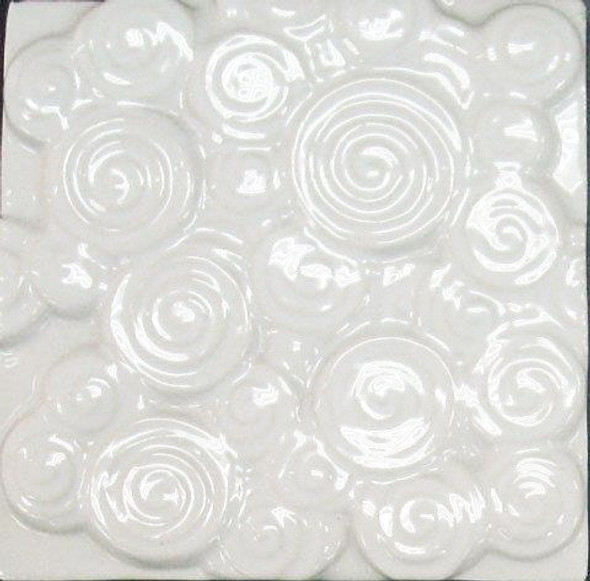 Bristol Studios - Nouveau - G2451 Chinon Blanc White Relief Deco - 6X6 Hand Crafted Decorative Tile - $4.95