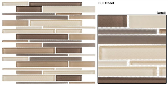 Cane - CN31 Creek Bed - Random Brick Linear Glass Tile Mosaic - Sample
