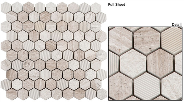 "Excalibur - EHEX-152 Winter Fjord - 1-1/4"" Hexagon Marble Stone Mosaic - Sample"