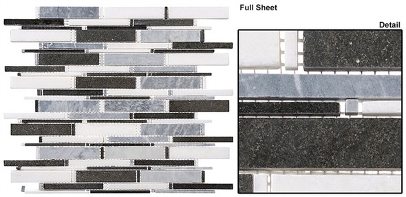 Cascade - CS93 Mugworth + Thassos White + Basalt Mix - Random Brick Stick Linear Natural Stone Mosaic Tile