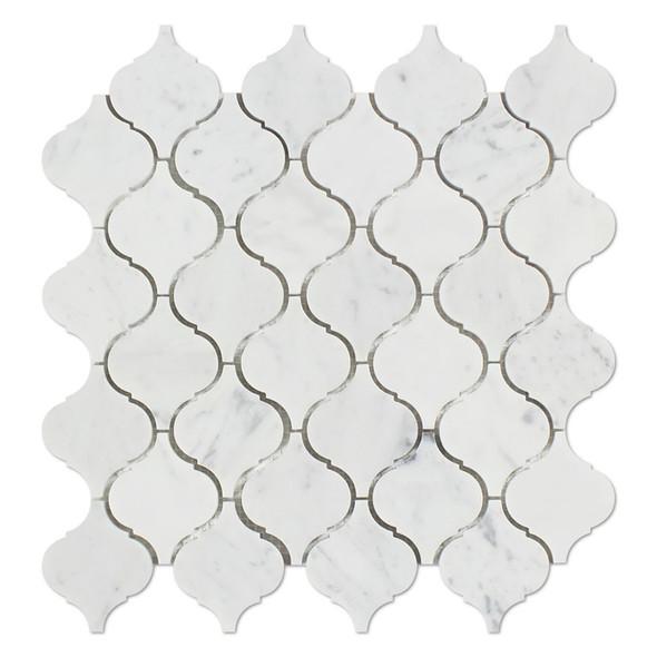 "Carrara White Marble - Arabesque Lantern Baroque Moroccan Mosaic Tile - 2"" - HONED - Sample"