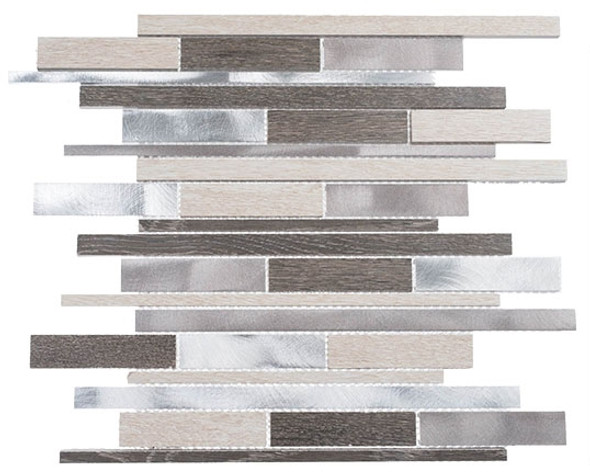 Maison De Luxe Series - MDX-2722 Platinum Road - Brick Shape Porcelain Wood & Metal Mosaic Tile - Random